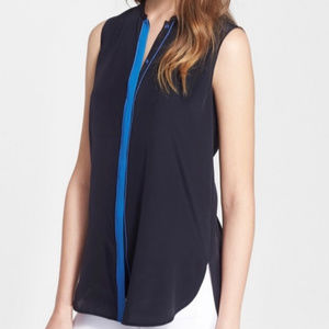 Vince Color Tipped Navy Sleeveless Silk Blouse - L
